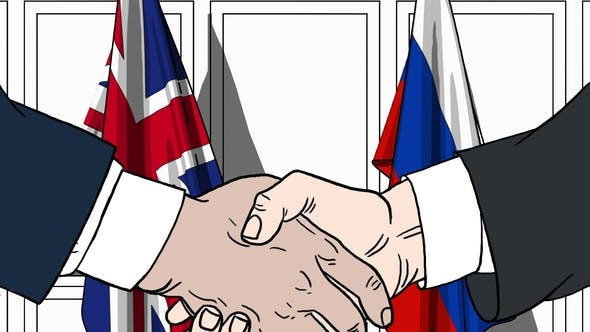 Thumbnail for Politicians Shaking Hands Against Flags of Great Britain and Russia