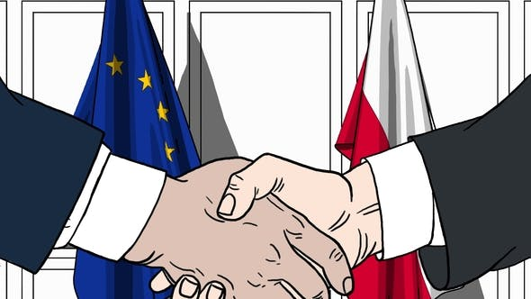 Thumbnail for Politicians Shake Hands Against Flags of European Union EU and Poland