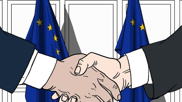 Thumbnail for Politicians Shaking Hands Against Flags of EU