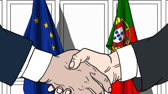 Thumbnail for Politicians Shake Hands Against Flags of European Union EU and Portugal