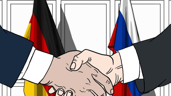 Thumbnail for Businessmen or Politicians Shaking Hands Against Flags of Germany and Russia