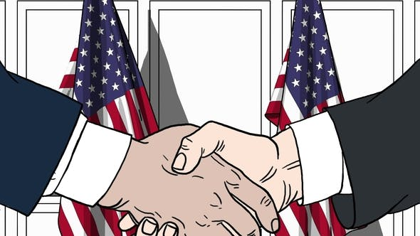Thumbnail for Businessmen or Politicians Shaking Hands Against Flags of USA