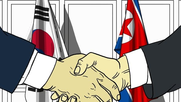 Thumbnail for Politicians Shake Hands Against Flags of South Korea and North Korea