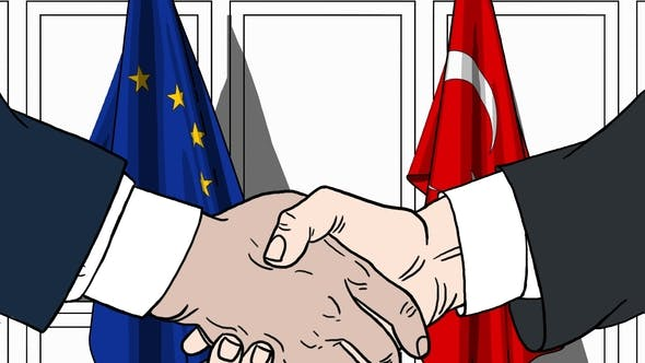 Thumbnail for Politicians Shaking Hands Against Flags of EU and Turkey