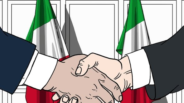 Thumbnail for Businessmen or Politicians Shaking Hands Against Flags of Italy