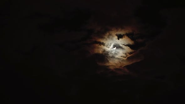 Thumbnail for Night Sky, Clouds Covered Full Moon