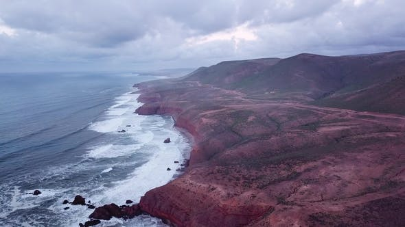 Thumbnail for Aerial View on Legzira Beach at Sunset in Morocco