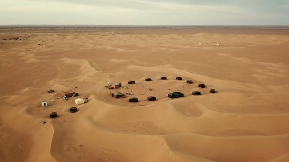 Cover Image for Flying over Camping Site in Sahara Desert in Africa