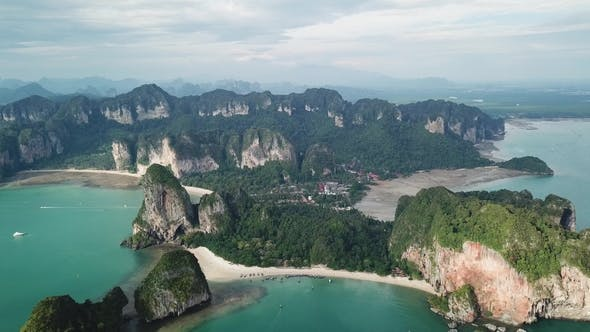 Thumbnail for Aerial of Tropical Beach Rocks and Islands in Railay