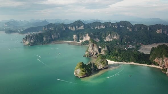 Thumbnail for Aerial of Tropical Beach Rocks Islands, Railay