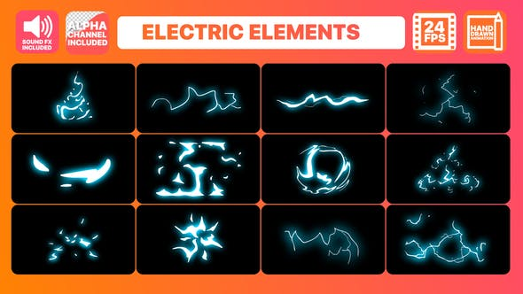 Thumbnail for Cartoon Electric Elements And Titles | After Effects