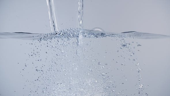 Thumbnail for Pouring Water with Lot of Air Bubbles and Splashes White Background