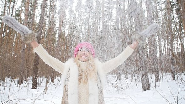 Thumbnail for Young Happy Smile Woman Throws Snow