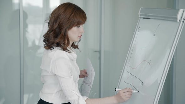Thumbnail for Portrait of Businesswoman Drawing Graph on the Whiteboard in the Office