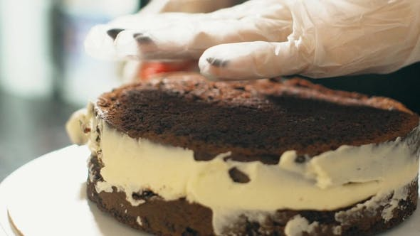 Thumbnail for Young Confectioner Is Applying Cream on Cake on Table in Restaurant Kitchen