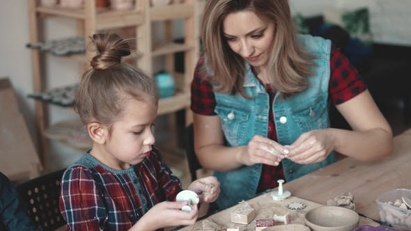 Thumbnail for Mom and Daughter Are Making Crafts From Clay. Lesson in Pottery