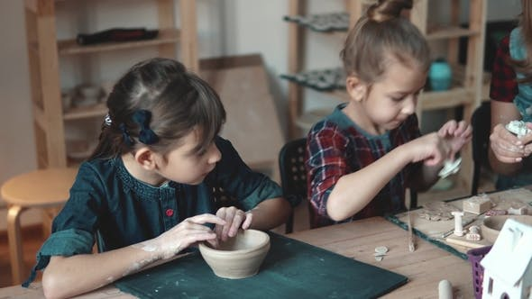 Thumbnail for Lesson in Pottery. Children Enthusiastically Molded From Clay
