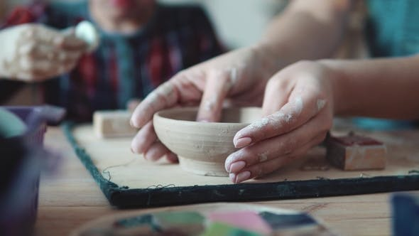 Thumbnail for Girl Makes Craft Clay Plate. Women's Hands. Handmade Clay Dish