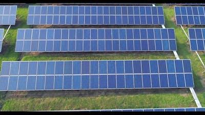Aerial View of Solar Energy Panels, Solar Panels, Solar Power Plants.