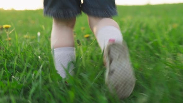 Thumbnail for Child Runs on Green Grass in Summer Day