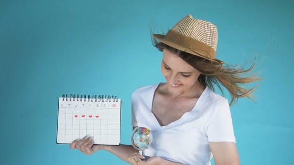 Thumbnail for Young Woman with Globe and Calendar