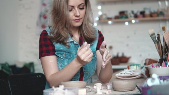 Thumbnail for Attractive Young Caucasian Woman Spends Time Behind a Creative Hobby. the Girl Enthusiastically