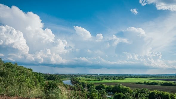 Thumbnail for Beautiful Landscape , Cumulus Clouds Over the River and Field