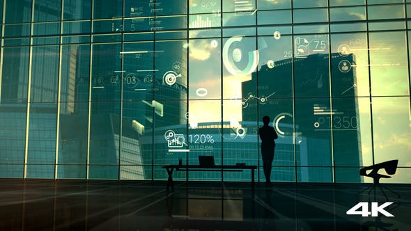 Cover Image for A Successful Businesswoman Against The Backdrop Of A Panoramic Window And Corporate Infographic