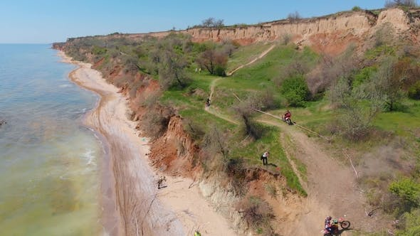 Thumbnail for Aerial View of the Final Stage of the Enduro Extreme Race on the Seashore in