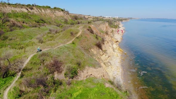Thumbnail for Aerial View of the Final Stage of the Enduro Extreme Race on the Seashore in .