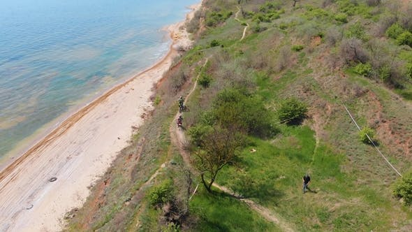 Aerial View of the Final Stage of the Enduro Extreme Race on the Seashore in