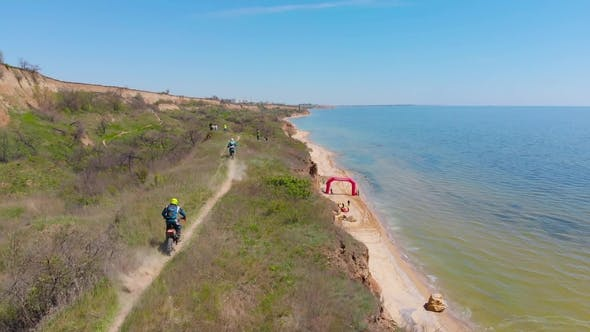 Aerial View of the Final Stage of the Enduro Extreme Race on the Seashore in .