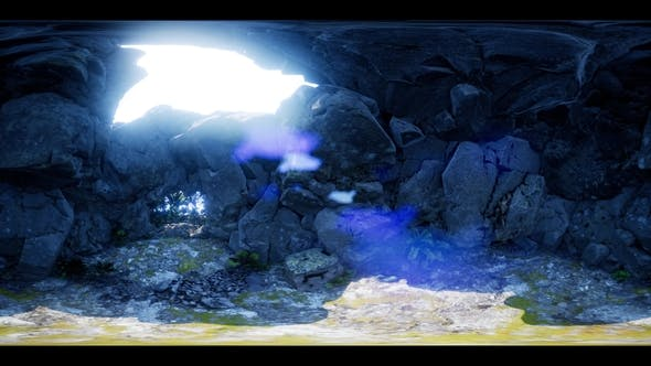 Thumbnail for VR 360 Camera Moving Inside Tropical Cave in Jungle with Palms and Sun Light