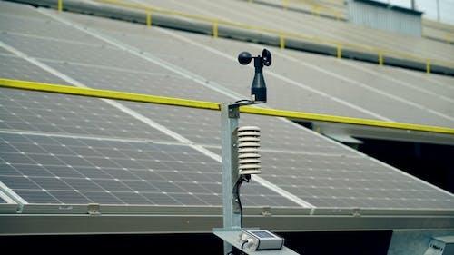 Meteorologisches Instrument zur Messung der Windgeschwindigkeit und des Solarzellensystems. Solarbetrieb
