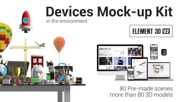 Thumbnail for Devices Mock-up Kit in Environment