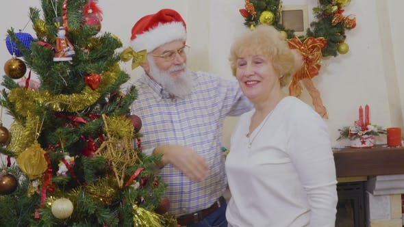 Thumbnail for Happy Mature Couple Decorate Christmas Tree