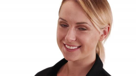 Thumbnail for Happy blonde female looking at camera with happy expression on white copy space