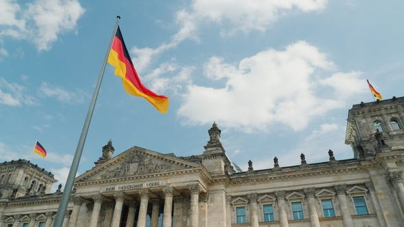 Thumbnail for Spring Blue Sky Over the Building of the Bundestag in Germany. German Flags Waving in the Wind