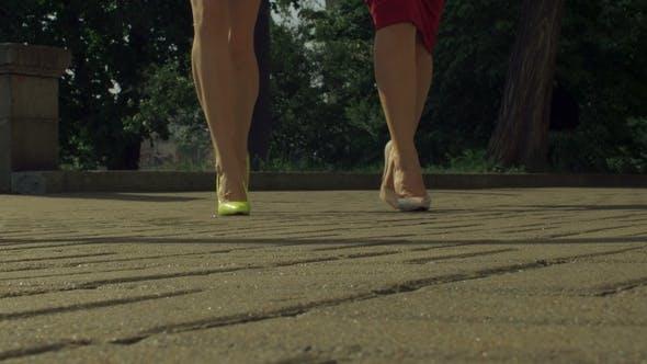 Thumbnail for Elegant Female Legs in High Heels Walking on Street