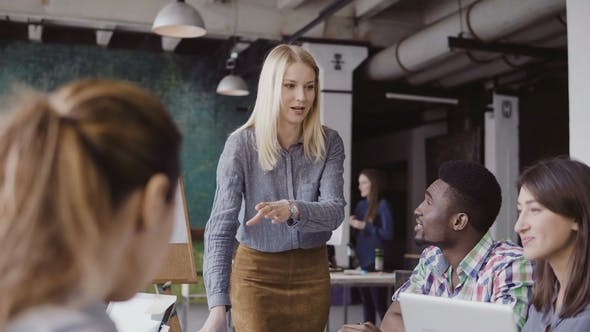 Thumbnail for Beautiful Blonde Woman Manager Giving Direction To Multiethnic Team. Creative Business Meeting at
