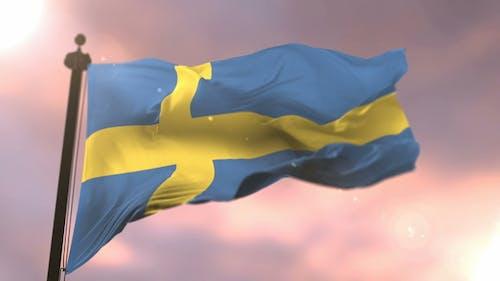 Flag of Sweden at Sunset