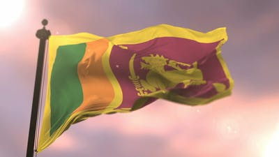 Flag of Sri Lanka at Sunset