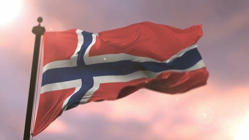 Flag of Norway at Sunset