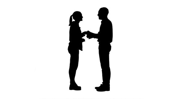 Thumbnail for Silhouette Young People Happy To Meet Each Other Handshaking.