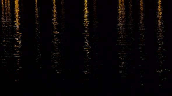 Thumbnail for Glare and Light on the Water at Night. Lights of the Night City