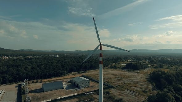 Thumbnail for View of Windmill in Countryside,wind Energy Turbine, Alternative Renewable Energy Production