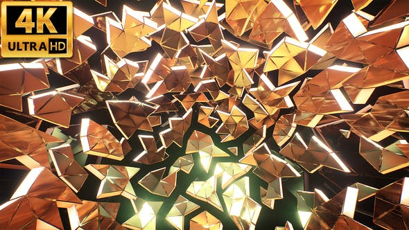 Thumbnail for Gold Triangles Background 4k