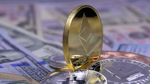 Thumbnail for Gold Ethereum Coin, ETH and Bills of Dollars Are Rotating