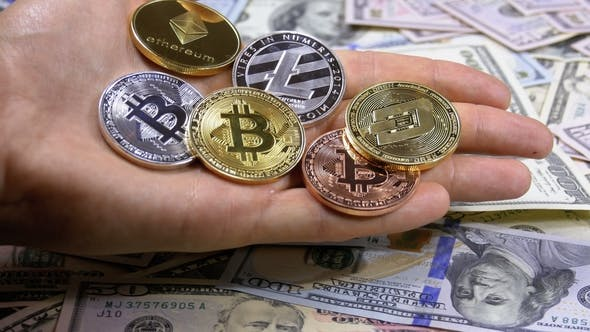 Thumbnail for Hand Holds Different Coins of Cryptocurrency on a Table with US Dollars Are Rotating