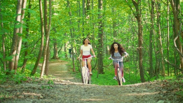 Thumbnail for Walking on Bicycles in the Green Forest Two Girls Climb the Path To the Hill , Sunny Day